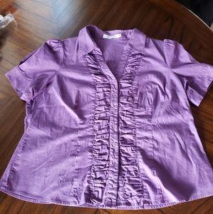 Laura Petites Womens Purple Blouse Size 16
